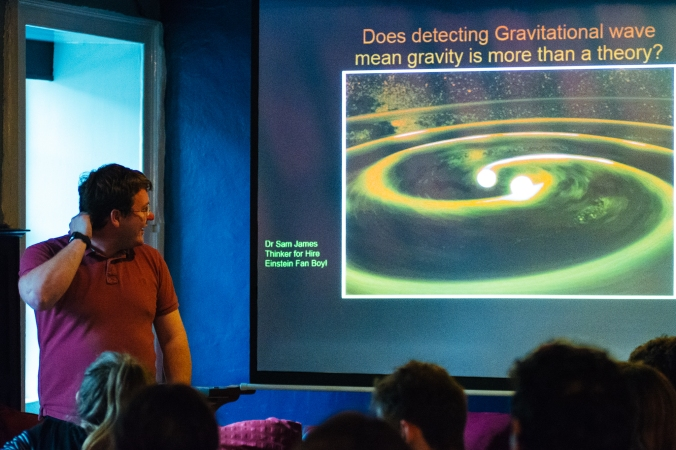 Does the detection of gravitational waves prove that gravity is more than just a theory? – A talk by Dr. Sam James. Tuesday 31st May 2016, The Old George, Newcastle upon Tyne